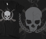 Skull & Crossed Hurleys - Grey on Black