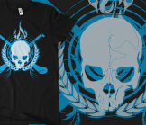 Skull & Crossed Hurleys - Electric Blue on Black